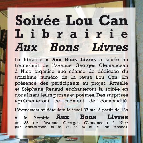 Visuel de la dédicace de la revue Lou Can à la librairie Aux Bons Livres.