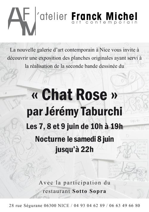 Carton d'invitation pour l'expo des planches de la BD du Chat Rose de Jérémy Taburchi à l'Atelier Franck Michel