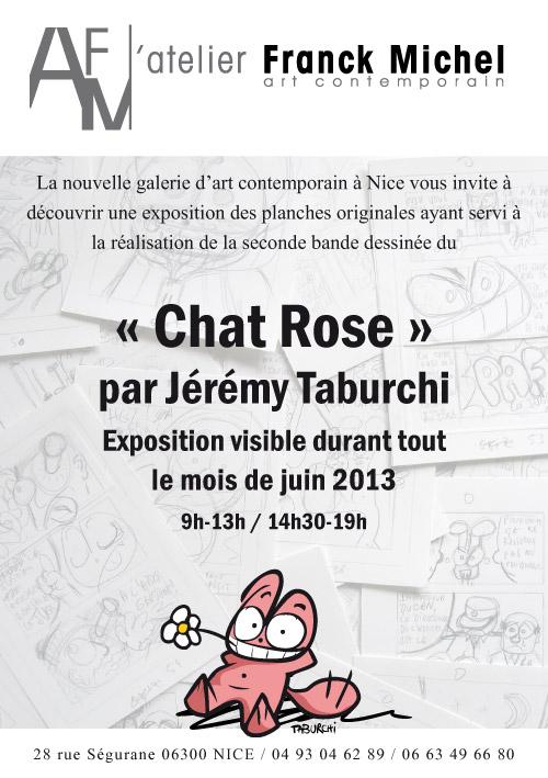 Flyer de l'exposition à l'Atelier Franck Michel des planches originales de la bande dessinée du Chat Rose par Jérémy Taburchi