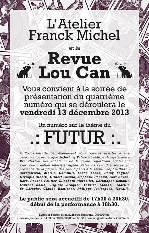Affiche soirée de présentation du Lou Can 4 avec une performance de Jérémy Taburchi