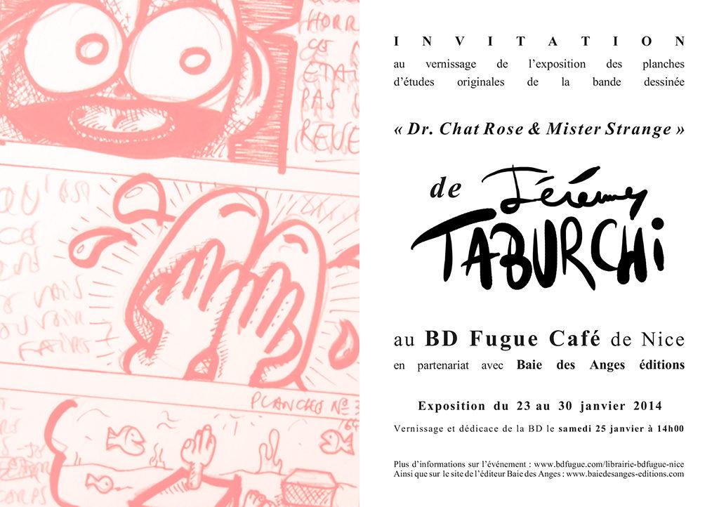 Invitation exposition des planches originales détudes de la BD du Chat Rose au BD Fugue Café de Nice