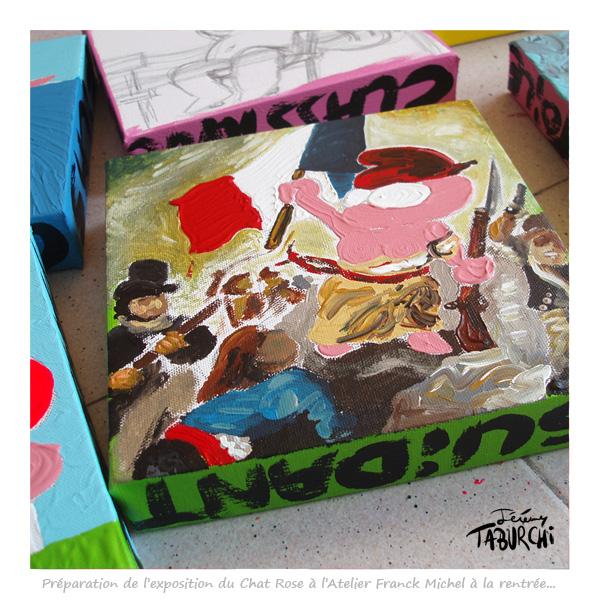 Préparation de l'exposition de Jérémy Taburchi à l'Atelier Franck Michel à Nice.