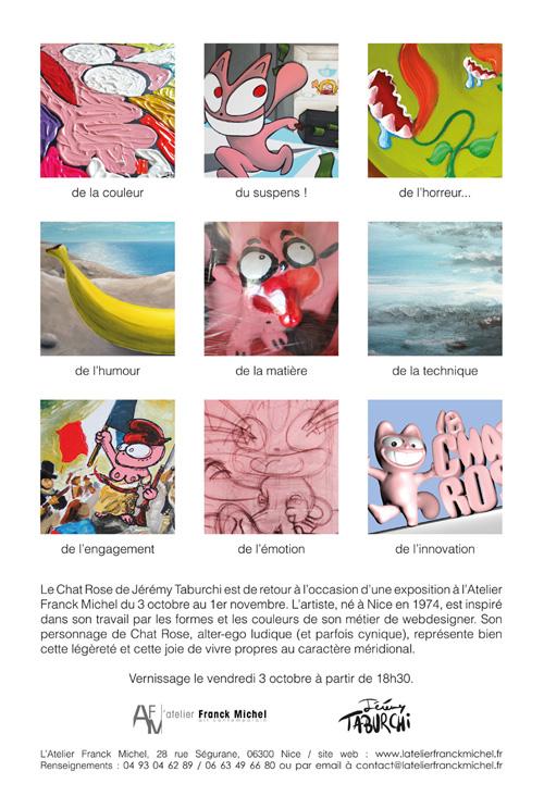 Verso du flyer annonçant l'exposition d'octobre du Chat Rose à l'Atelier Franck Michel.