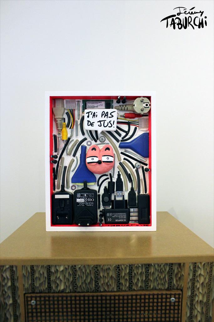 """""""J'ai plus de jus"""" un bas-relief de Jérémy Taburchi et de son Chat Rose"""