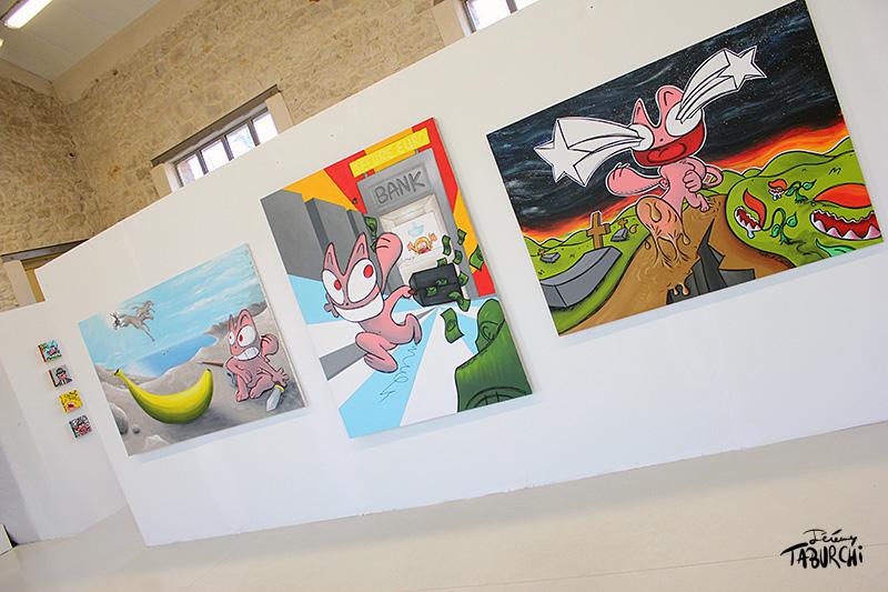 Quelques peintures grand format du Chat Rose de Jérémy Taburchi