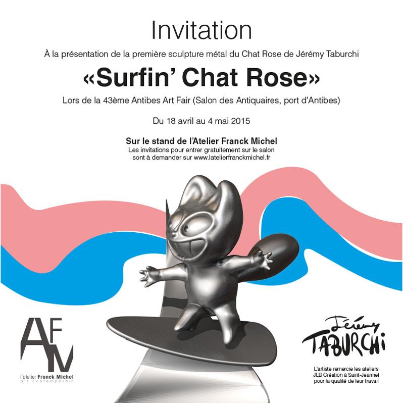 Invitation présentation Surfin'Chat Rose