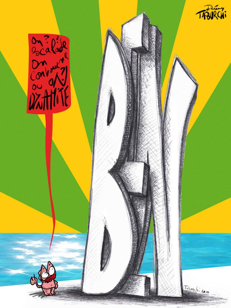 Exemple de dessin pour la presse, avec un sujet sur l'art contemporain