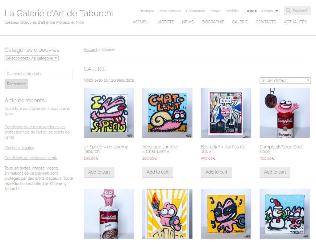 La Galerie d'Art officielle de Jérémy Taburchi et du Chat Rose