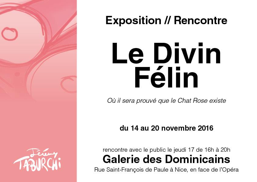 Flyer exposition Chat Rose de Taburchi à la Galerie des Dominicains