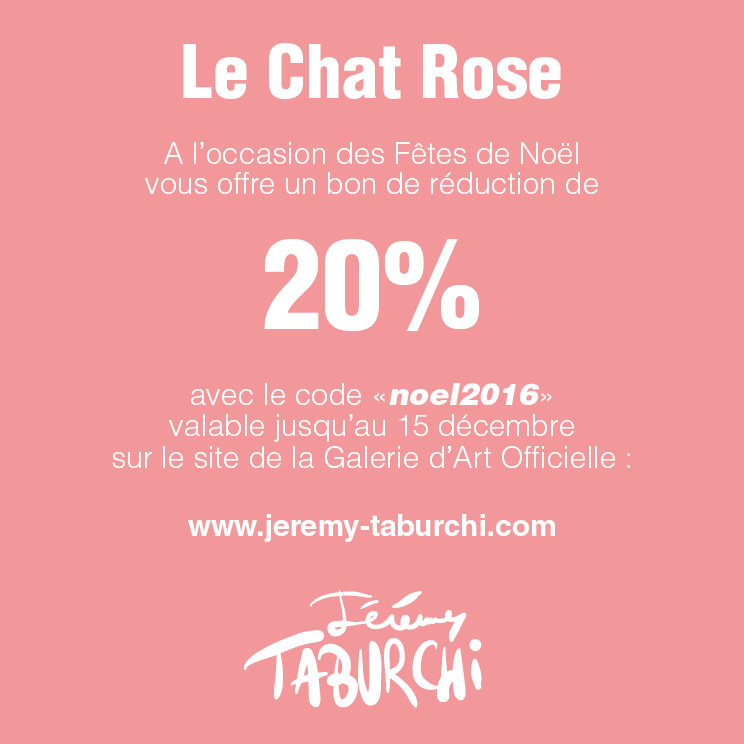 Bon de réduction sur le site de la Galerie d'Art du Chat Rose