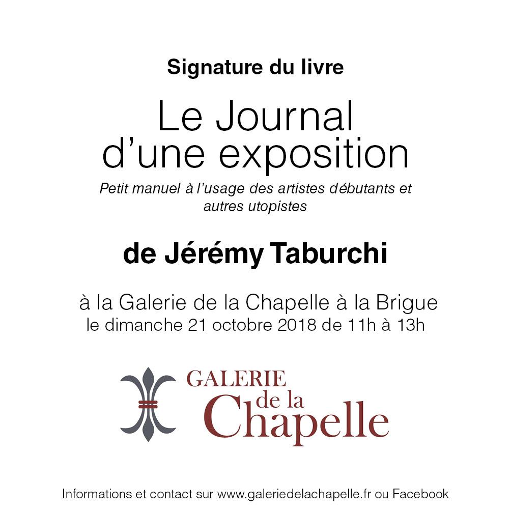 Signature du livre le Journal d'une Exposition à la Galerie de la Chapelle de la Brigue.