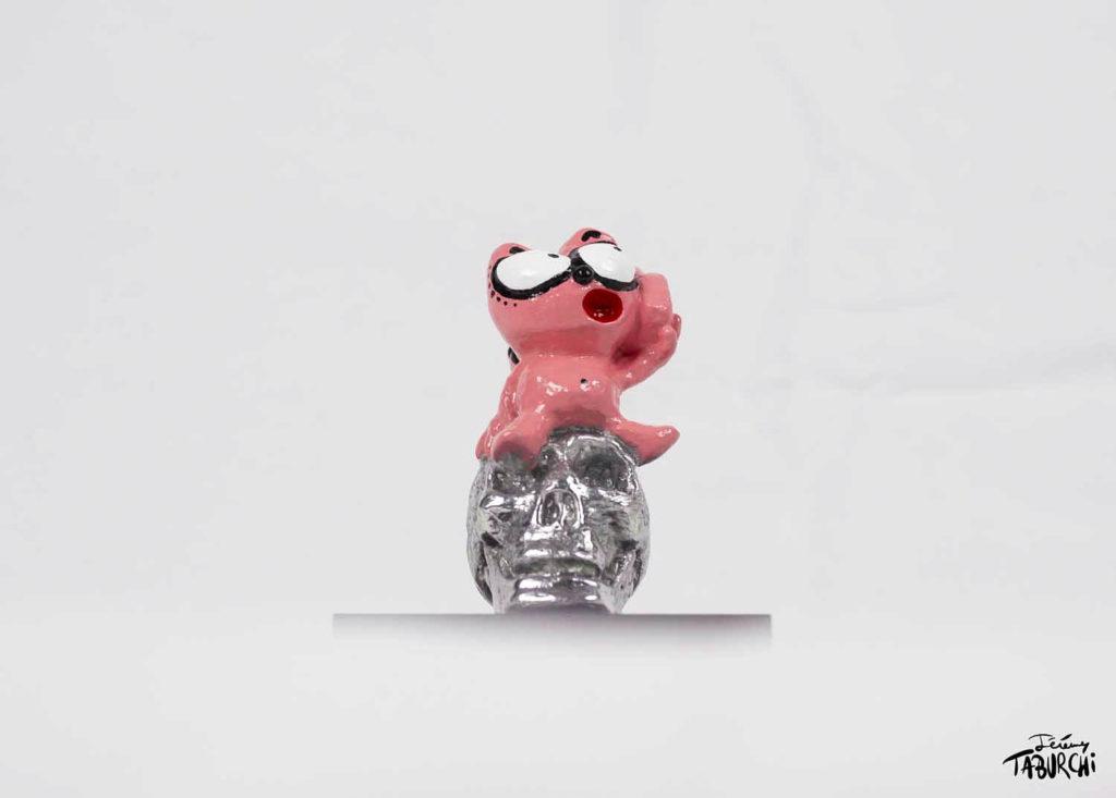 Sculpture en aluminium du Chat Rose