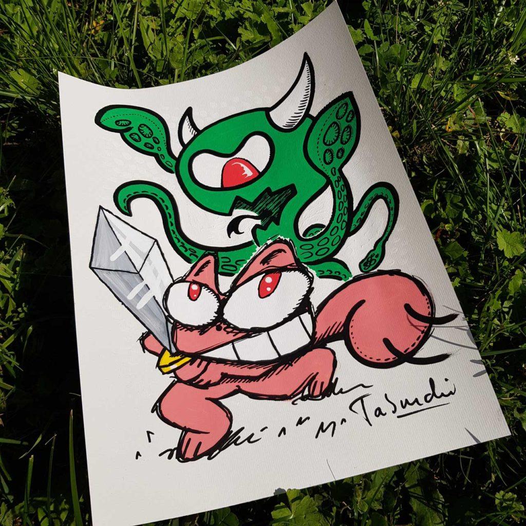 Un dessin du Chat Rose contre le Covid-19