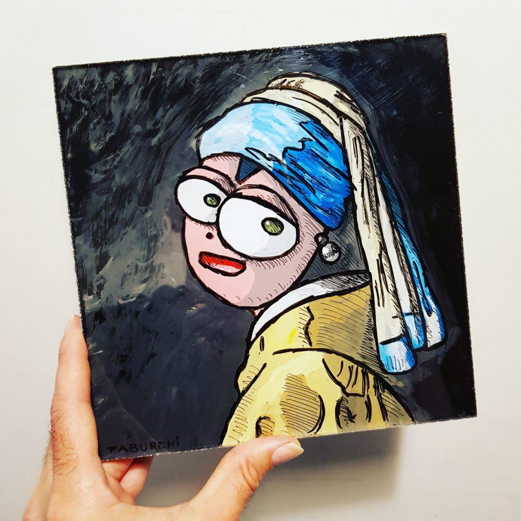 La Jeune Fille à la perle de Vermeer, façon Chat RoseLa Jeune Fille à la perle de Vermeer, façon Chat Rose de Taburchi