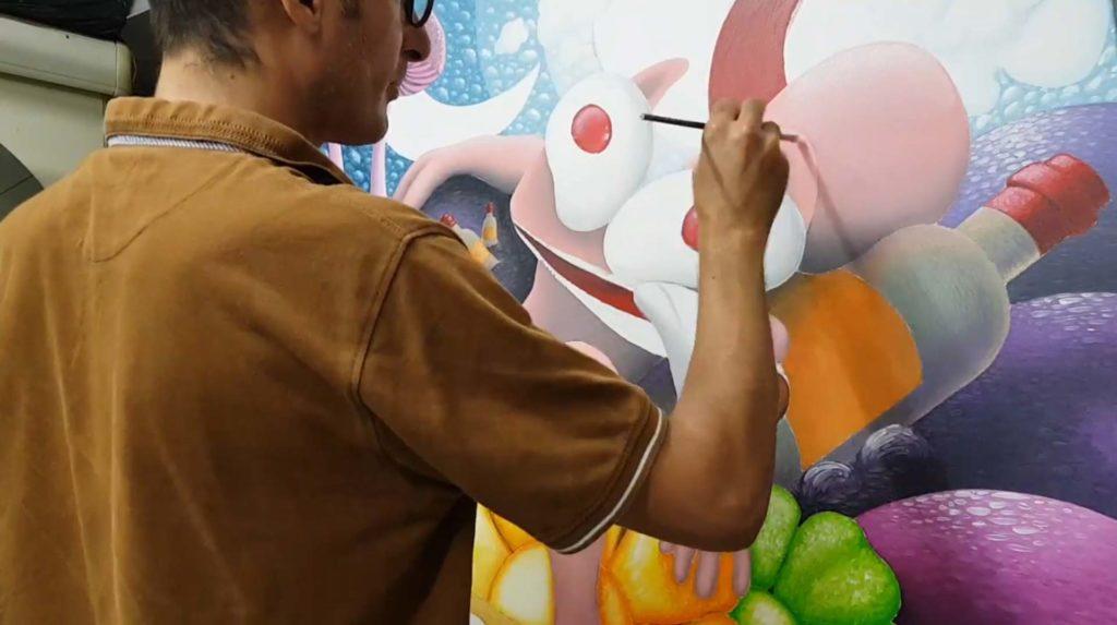 Une peinture du Chat Rose de Taburchi
